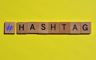 Hashtag, symbol and word as a banner headline with copy space